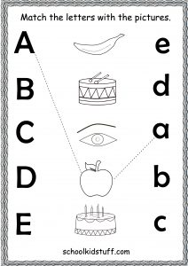 match the letters with the pictures