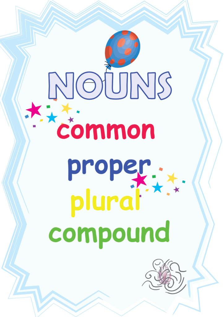 nouns - common, proper, plural, compound